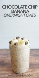 One serving of chocolate chip banana overnight oats in a glass container.