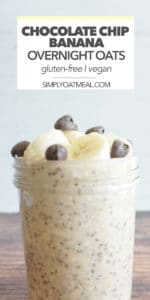 Chocolate chip banana overnight oats garnished with fresh banana and decadent chocolate chips