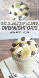 Bowl of chocolate chip banana overnight oats sprinkled with delicious chocolate chips on top.