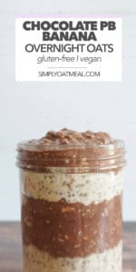 A glass bowl filled with layers of chocolate peanut butter banana overnight oats.
