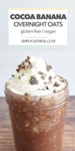 Cocoa banana overnight oats garnished with fresh whipped cream and shaved chocolate