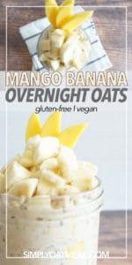 Bowl of overnight oats garnished with mango and banana
