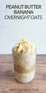 One serving of peanut butter banana overnight oats topped with sliced banana and chopped peanuts