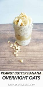 Peanut butter banana overnight oats is garnished with banana slices and crushed peanuts