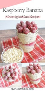 How to make overnight oats with mashed banana and raspberries in a ready to eat container.
