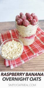 Layers of overnight oats with mashed banana and raspberry