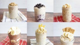 Brand new banana overnight oats recipes created by Simply Oatmeal. Use your over ripened bananas to try some of these fun flavor combinations