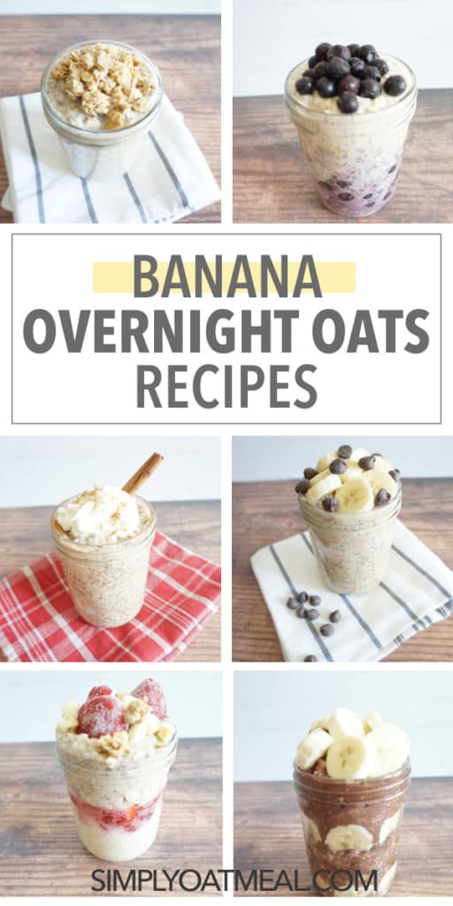 An assortment of banana overnight oats in one photo.