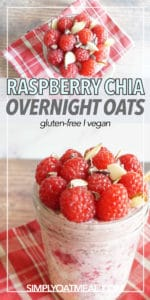 Bowl of raspberry chia overnight oats with a layer of raspberry-chia jam and an extra layer of fresh raspberries on top