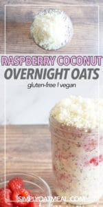 Meal prep container filled with a serving of raspberry and coconut overnight oats