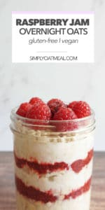 Glass bowl filled with raspberry jam overnight oats