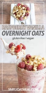 Bowl of raspberry vanilla overnight oats. A spoon is scooping a mouthful of the no cook oatmeal.