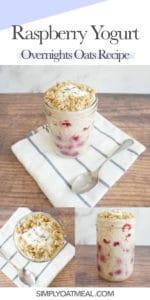 How to make raspberry yogurt overnight oats with raspberries, yogurt and soaked rolled oats.