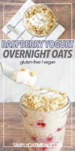 Spoon scooping a bite of raspberry yogurt overnight oats from a tall glass jar.