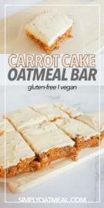 Moist and tender no bake carrot cake oatmeal bars topped with cream cheese frosting