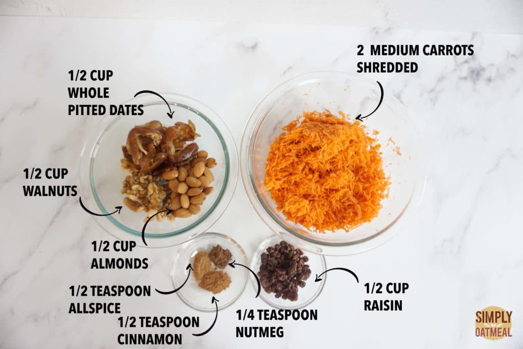 Ingredients to make no bake carrot cake oatmeal bars