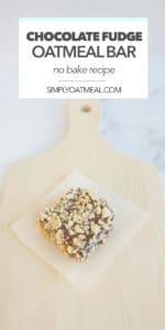 One piece of no bake chocolate peanut butter fudge oatmeal bar on a plate