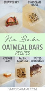 One piece of no bake oatmeal bars from five different recipes