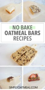 No bake oatmeal bars featuring five different recipes
