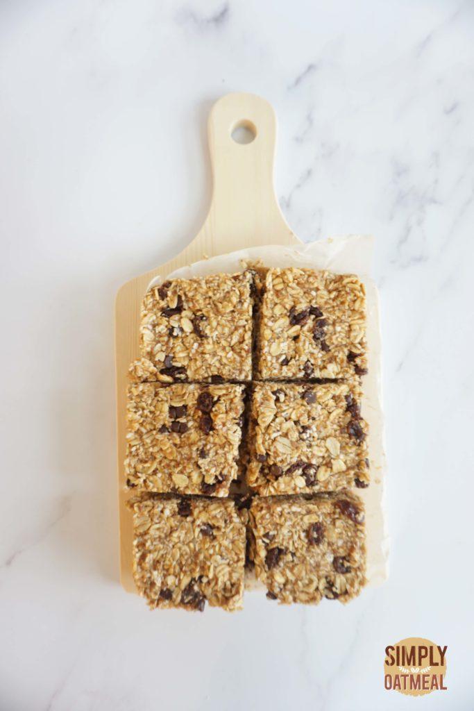 Easy to make no bake oatmeal raisin bars
