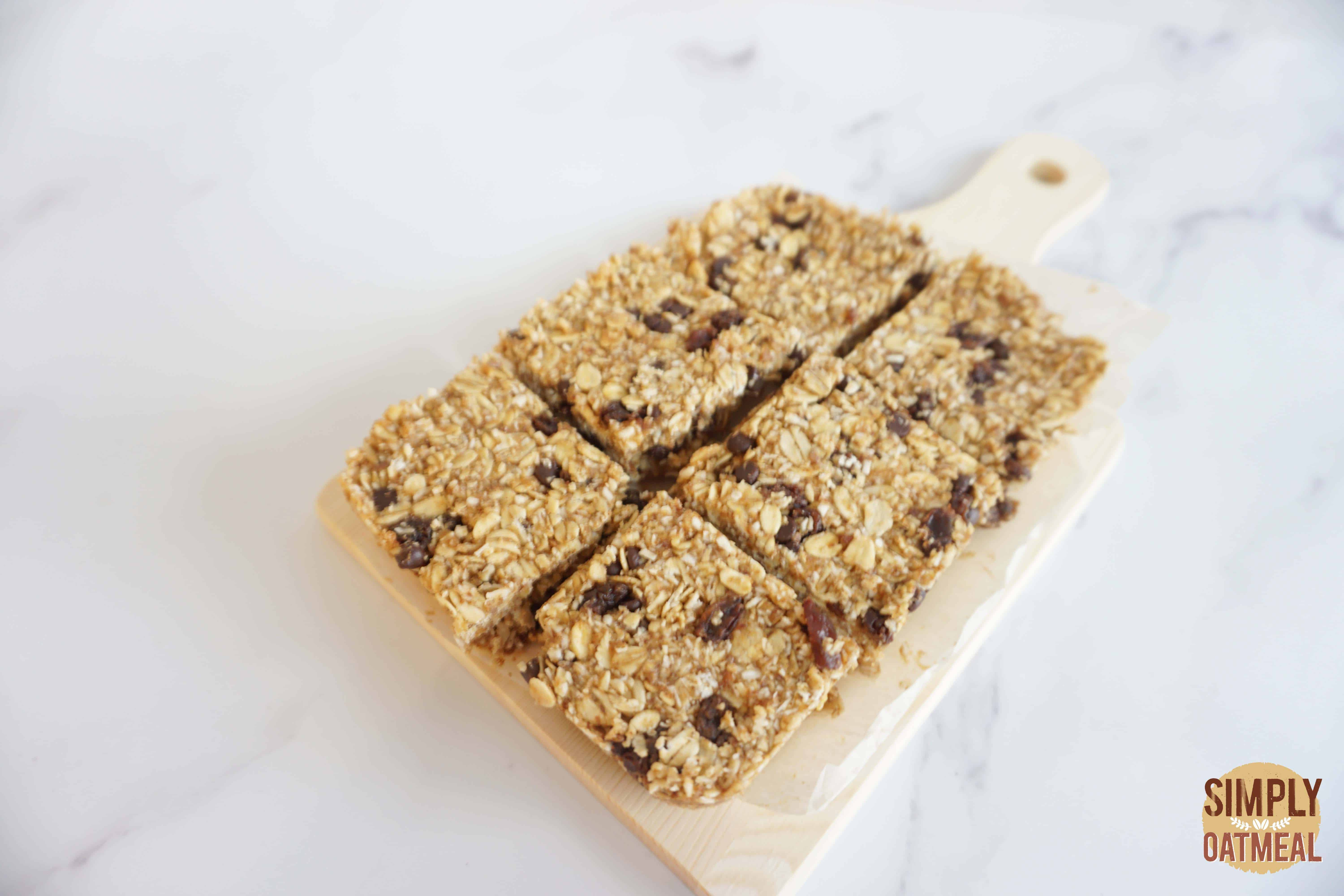 No bake oatmeal raisin bars cut into squares