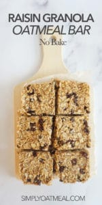 No bake oatmeal raisin bars served on a wooden cutting board
