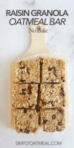 No bake oatmeal raisin bars served on a wooden cutting board