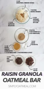 All of the ingredients to make the no bake oatmeal raisin bar