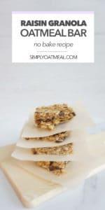 No bake oatmeal raisin bars served on a wood plate