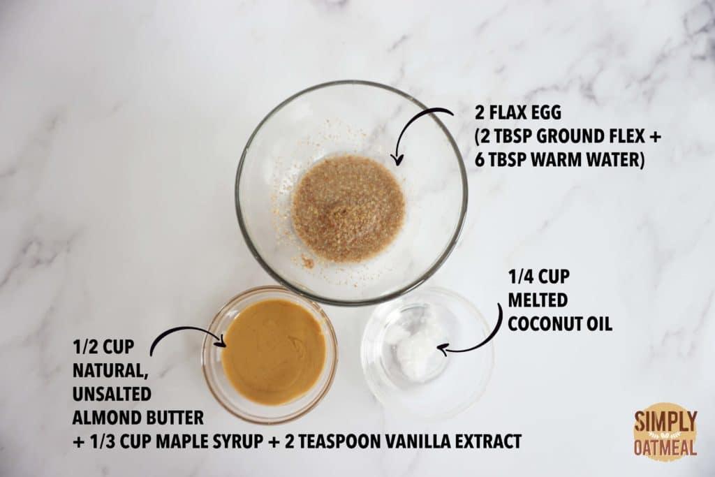 Wet ingredients to make the no bake oatmeal raisin bars