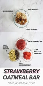 How to make the no bake strawberry oatmeal bar and chocolate chip-pistachio topping