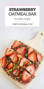 No bake strawberry oatmeal bar are cut into square bars to easily serve.