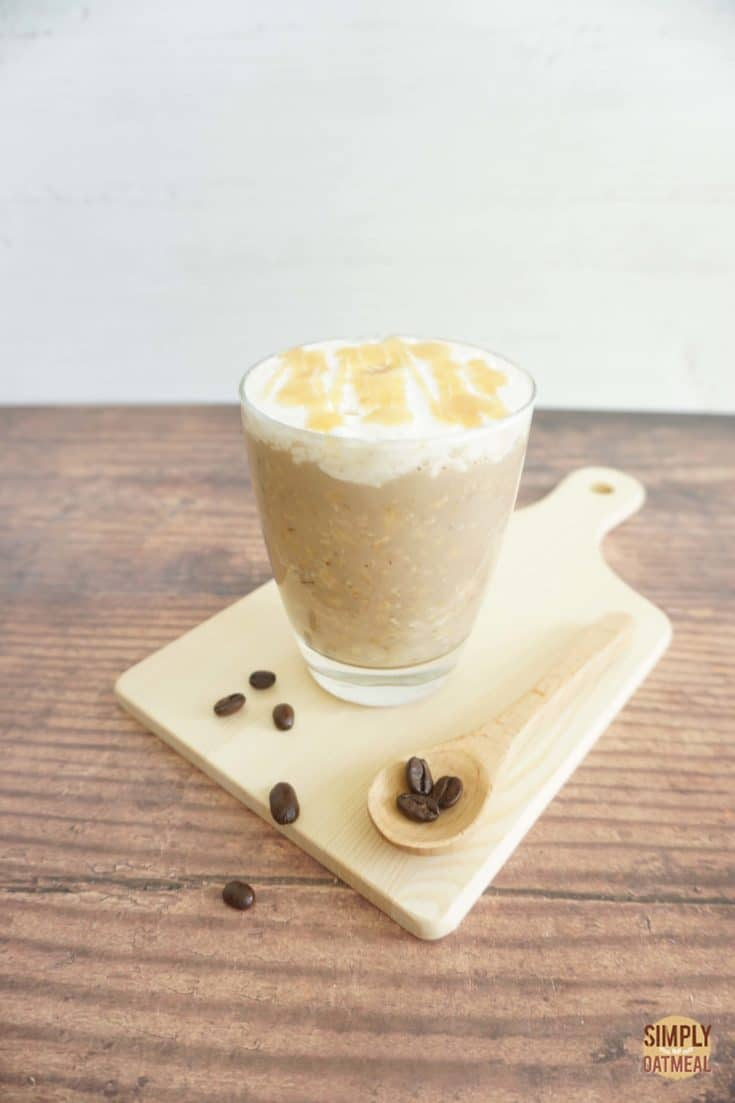 Single serving of caramel brulee latte overnight oats in a glass cup