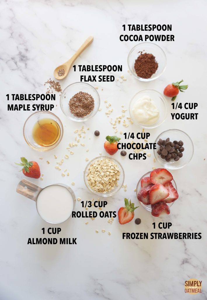 Ingredients to make chocolate covered strawberry oatmeal smoothie.