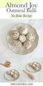 How to make no bake almond joy oatmeal balls