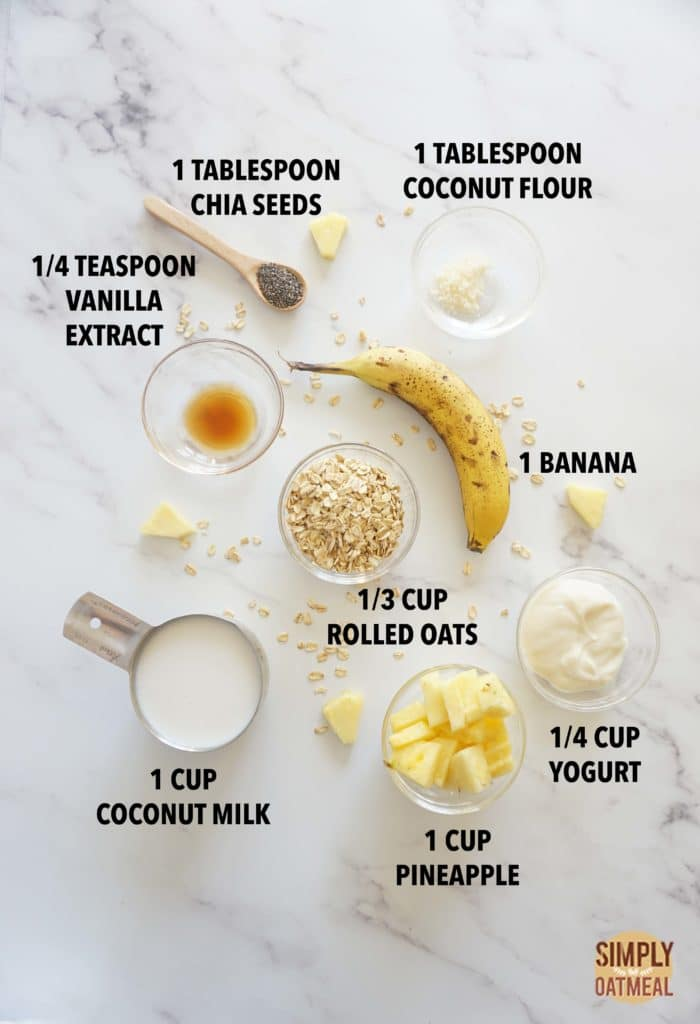Ingredients to make a piña colada oatmeal smoothie