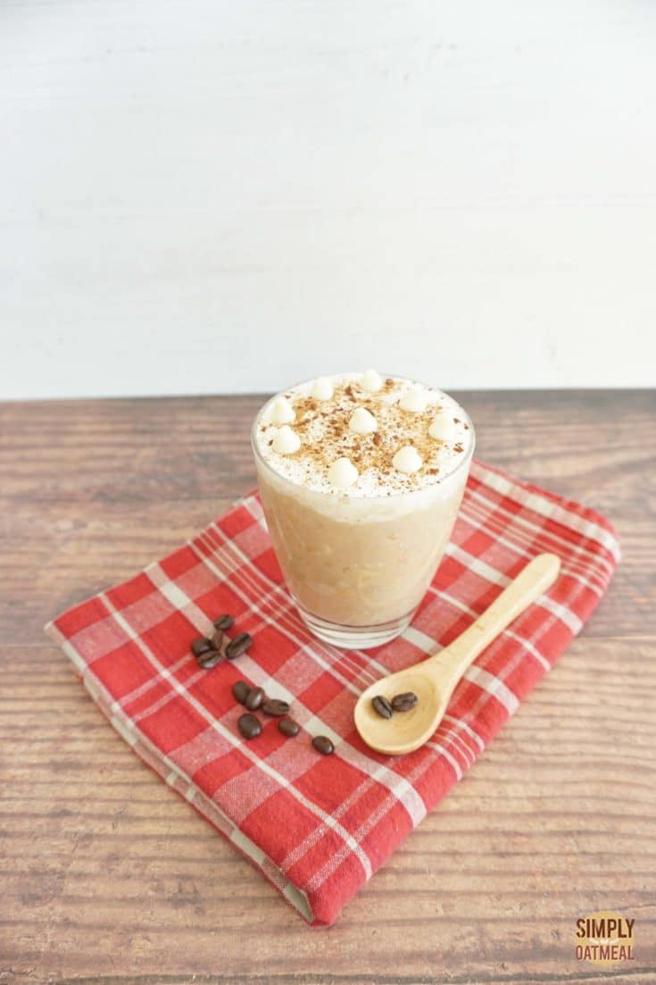 One serving of white chocolate mocha overnight oats in a glass cup