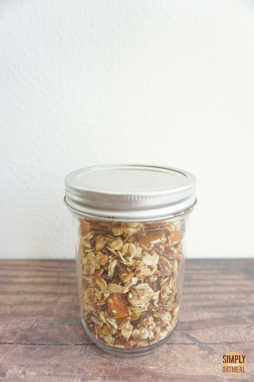 Apricot pistachio granola in an airtight mason jar