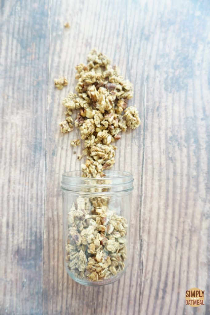 Banana bread granola combines mashed banana, walnuts, pecans and maple syrup with rolled oats.