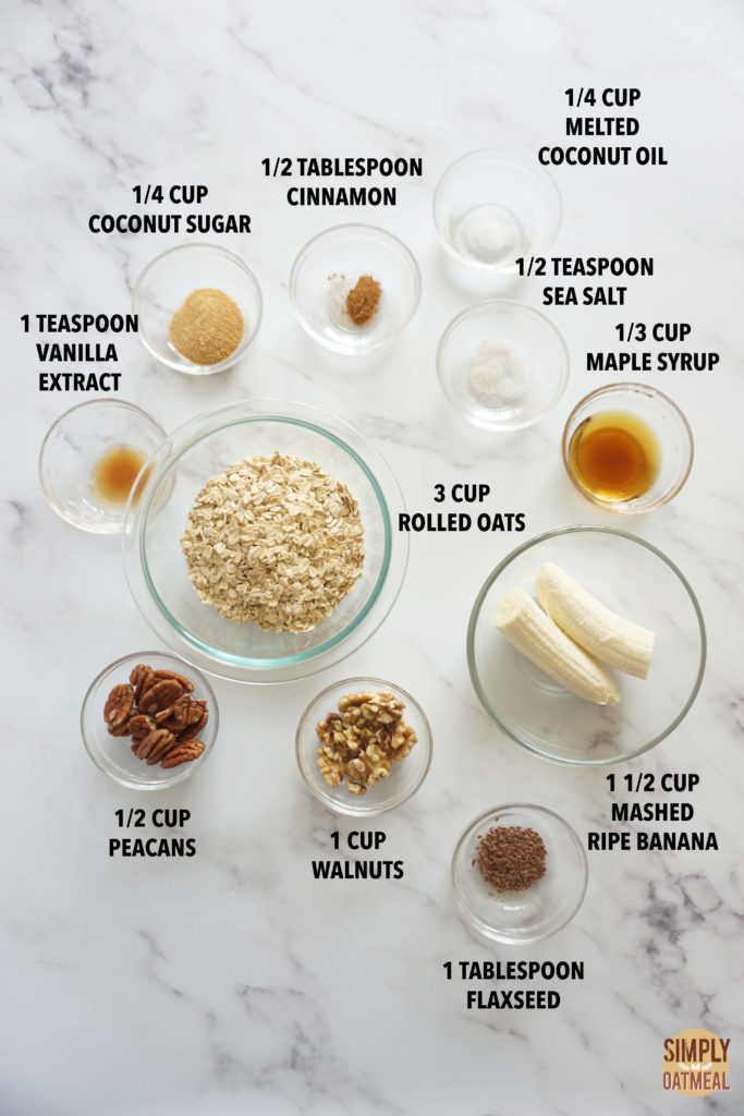 All the ingredients to make banana bread granola