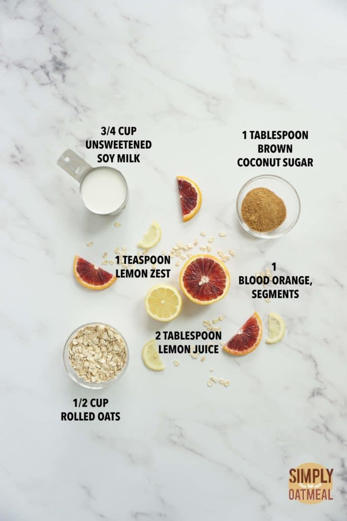 Ingredients to make blood orange lemonade overnight oats