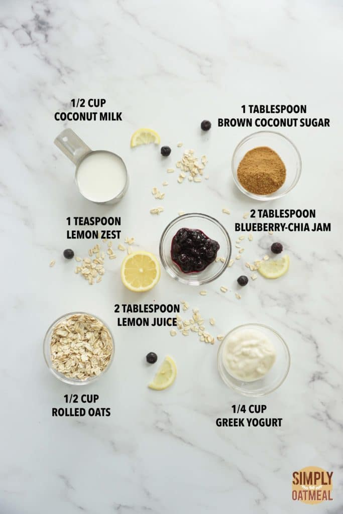 Ingredients to make blueberry lemonade overnight oats