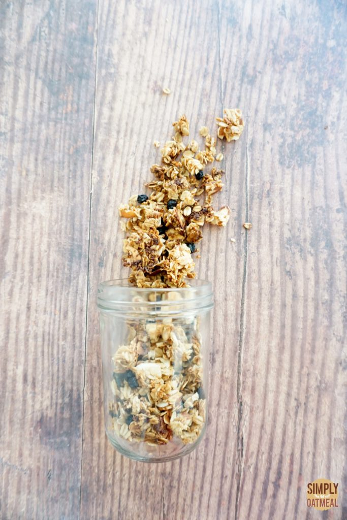 Blueberry muffin granola combines dried blueberries, almonds, shredded coconut and spice with rolled oats.