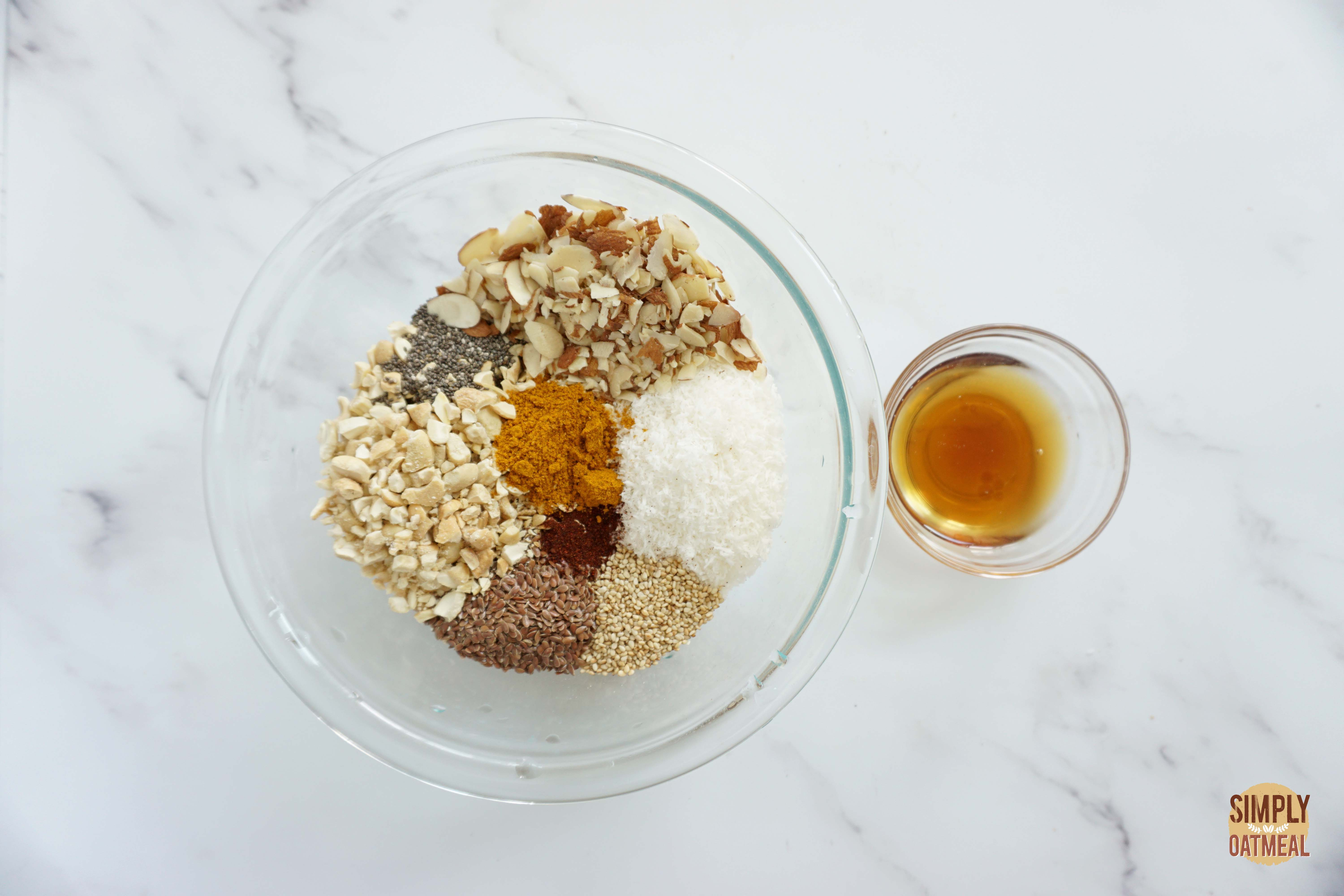 Wet and dry ingredients to make cashew curry granola