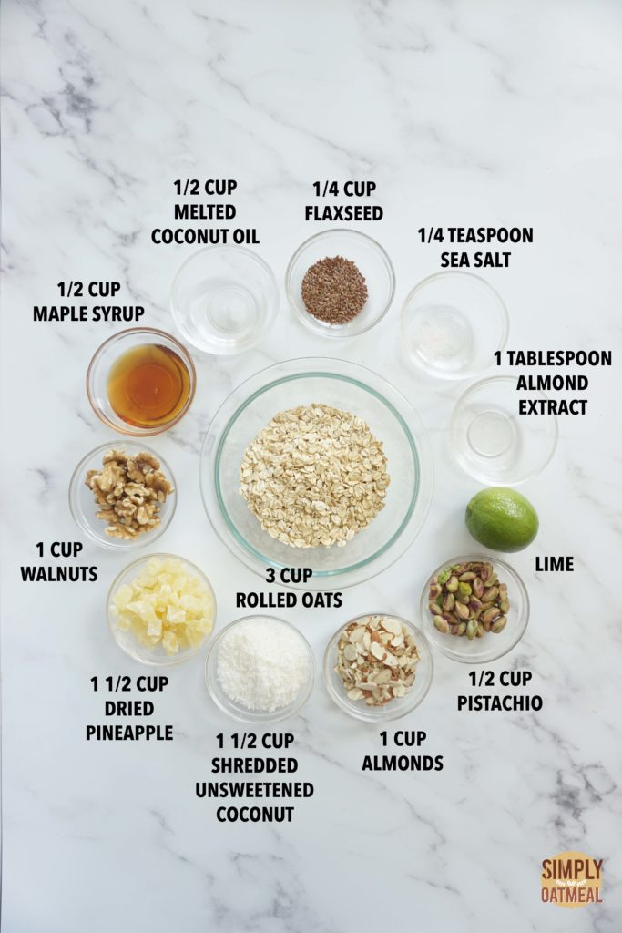 All the ingredients to make coconut lime pineapple granola
