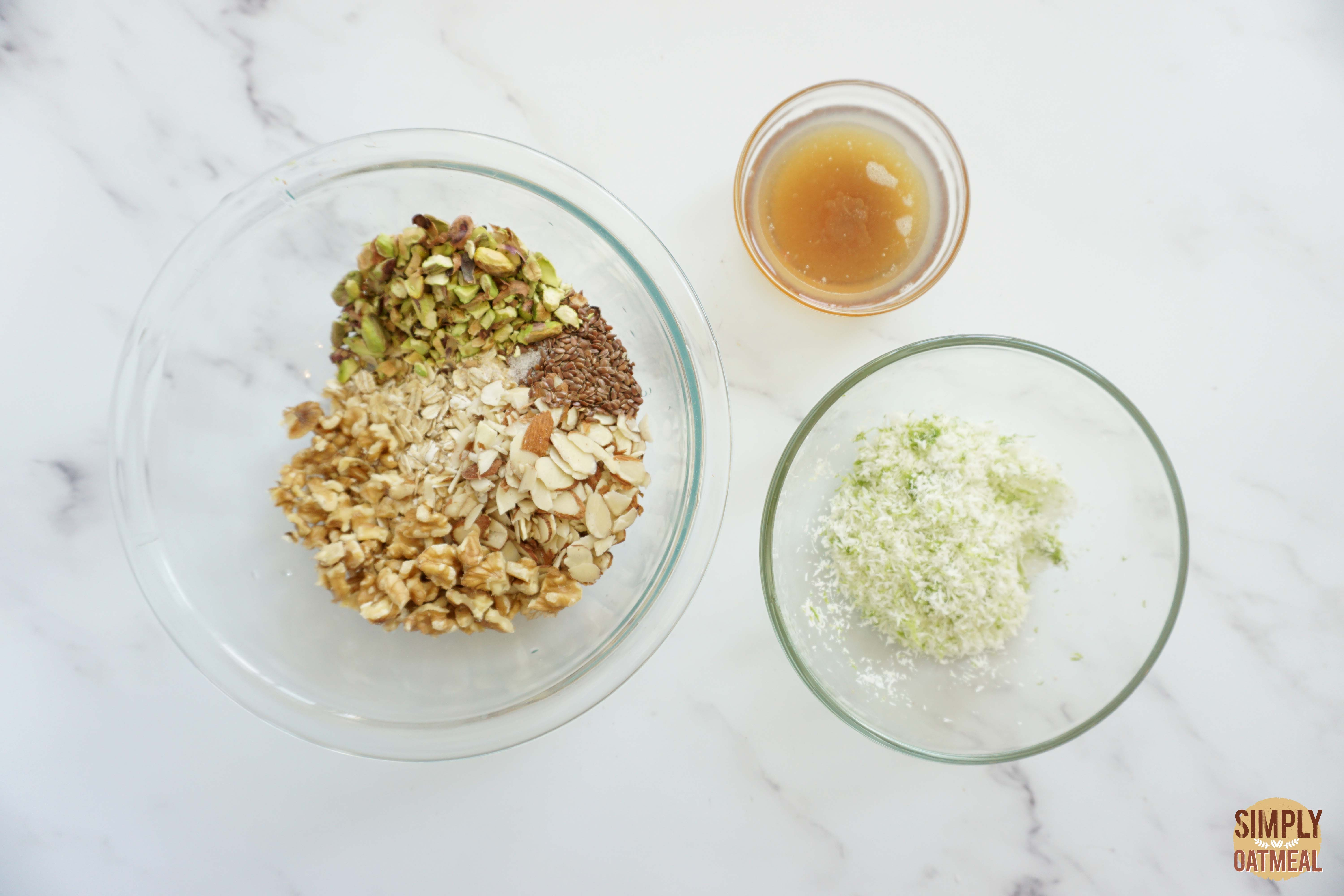 Wet and dry ingredients to make coconut lime pineapple granola