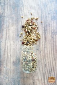 Chocolate cherry granola combines cooked quinoa, dark chocolate, dried cherries, seeds and spices with rolled oats.