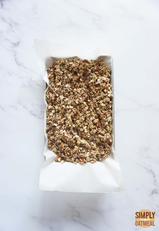 Chocolate cherry granola on a baking sheet pan
