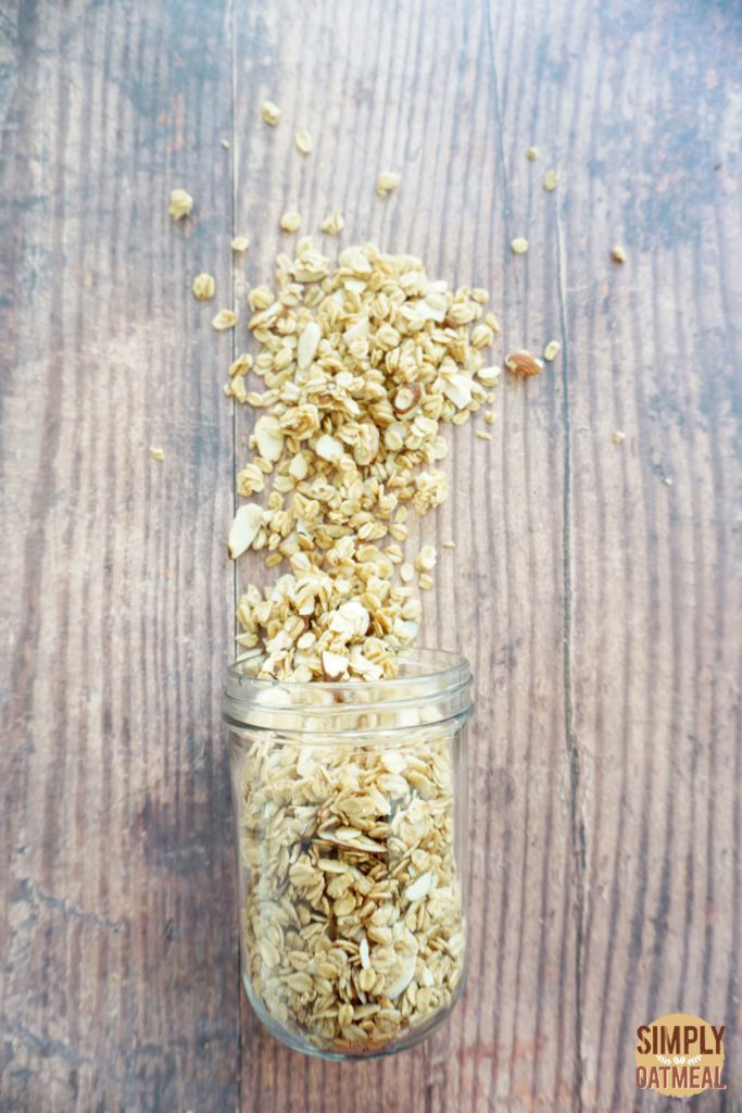 French vanilla almond granola combines almonds, vanilla extract, almond extract and spice with rolled oats.