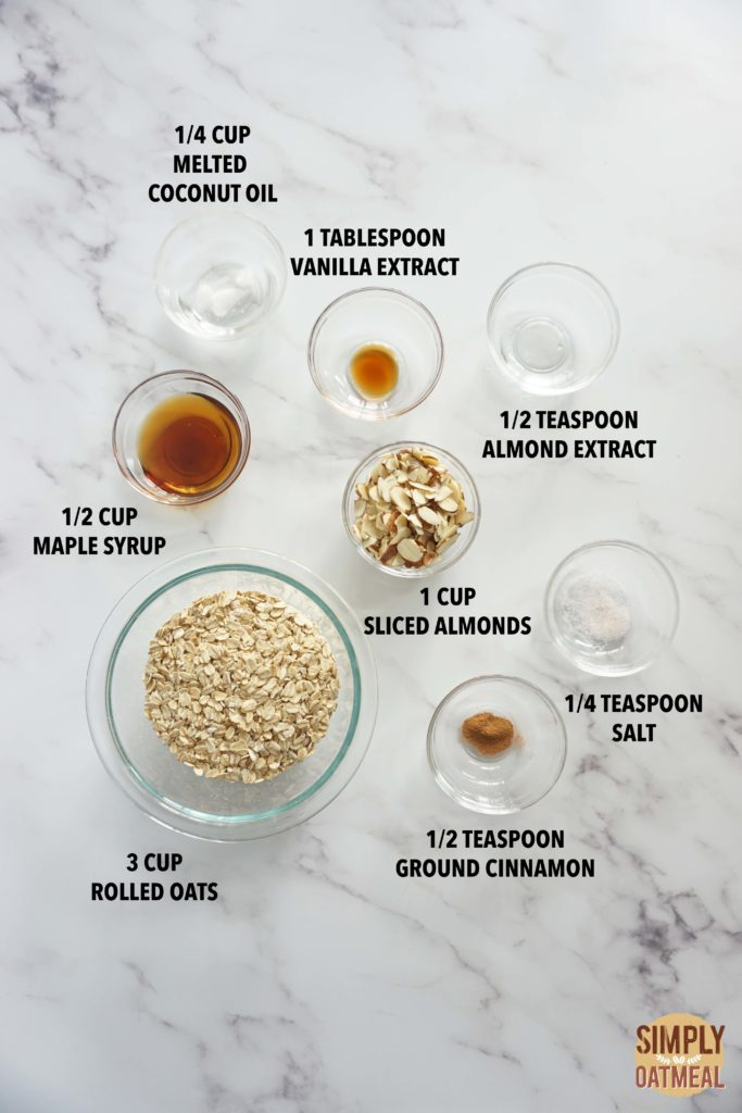 All the ingredients to make french vanilla almond granola